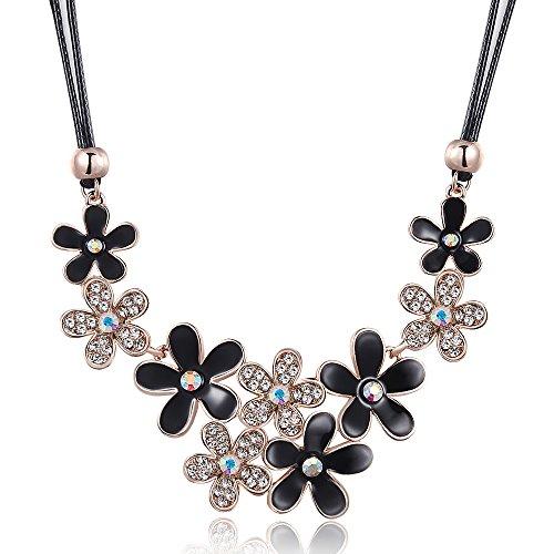city ouna collier de fleur noir des cordon mode en cuir pour femmes filles avec perceuse. Black Bedroom Furniture Sets. Home Design Ideas