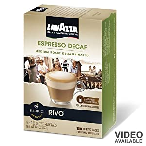 Lavazza Espresso Decaf for Keurig Rivo System, 18 count