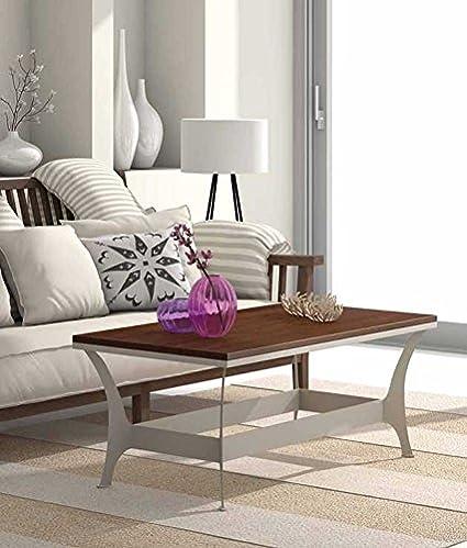 Table basse en fer forgé et bois : Collection OSLO RYS 108x44x54cms