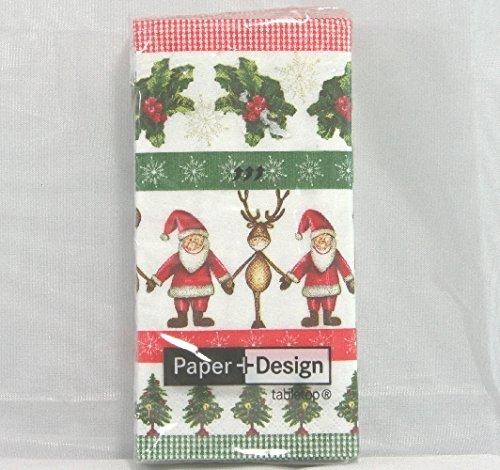 "N° 3 pacchetti Fazzoletti di carta ""babbo Natale e Renne"" pz. 10 cad.01257"