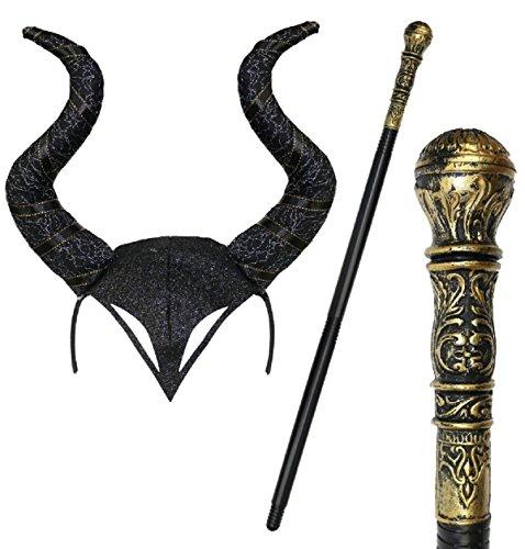 Maleficent Halloween Gothic Horn Cosplay Fancy Dress Headband & Staff - Black (Brazil Fancy Dress Ideas)