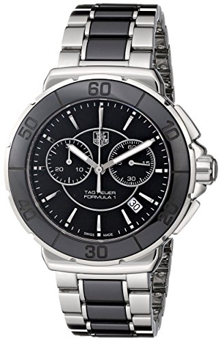 Tag Heuer Women's 'Formula 1' Stainless Steel Black Ceramic Chronograph Watch CAH1210.BA0862