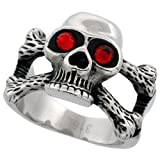 Surgical Steel Biker Skull Ring and Cross Bones Red CZ Eyes
