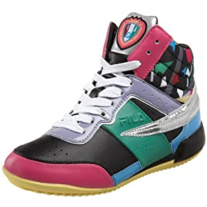 Fila Women's Melrose Geo High Top Sneaker,Black/Silver/Lemon,5 M