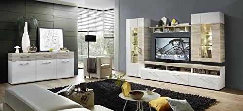 Wohnwand-mit-Sideboard-weiss-hochglanz-Sandeiche-mit-Beleuchtung