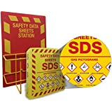 Right to Know SDS Center Wire Rack and Binder with GHS Pictograms