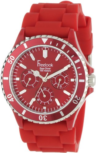 Freelook Unisex HA1434-2 Sea Diver Multi-Function Red Band with Red Dial Watch