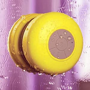 Mini HIFI Waterproof Wireless Bluetooth Handsfree Mic Suction Speaker Shower Yellow from Generic