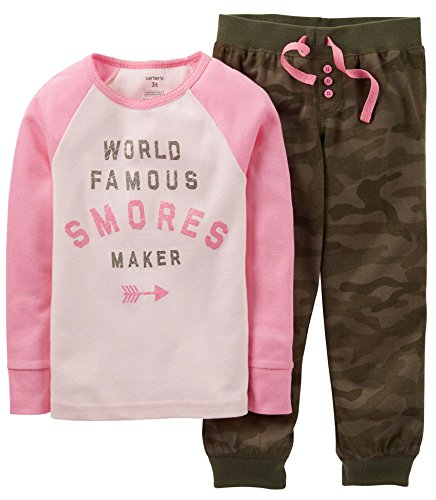 Carters Little Girls Smores Maker Pajama Set 7 Pink/Green Camo front-1066340