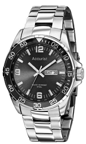 Accurist Men's Quartz Watch with Black Dial Analogue Display and Silver Stainless Steel Bracelet MB1006B