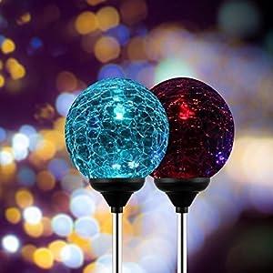 OxyLED SL75 Crystal Glass Globe Color Changing LED Solar Lights/Light Decoration, Garden Decor(2 Pack)