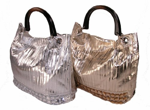 ADA - Pleated Lamay Slouch Hobo Bag with Wood Handle (Silver)