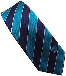 Versace Made In Italy Navy Blue Stripe 100% Silk Men's Tie