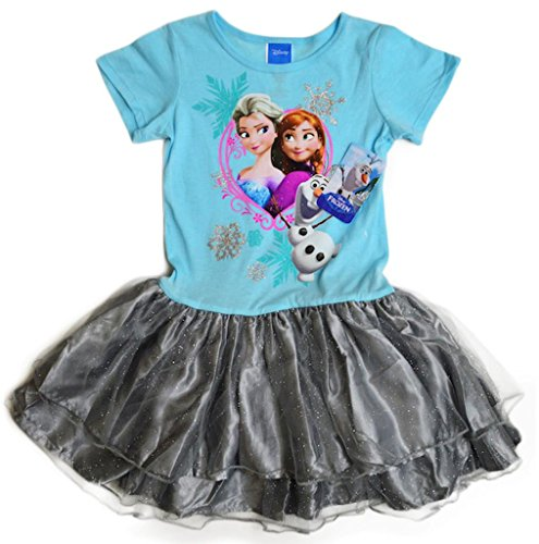 Disney Girl'S Movie Frozen Sisters Anna And Elsa Short Sleeve Dress Size Small In Blue Silver Color
