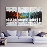 Gardenia Art - Colorful Forest Abstract Art 100% Hand Painted Contemporary Oil Paintings,Modern Artwork Wall Art for Room Decoration,3 Pcs/Set,16x24 inch,Unframed ¡