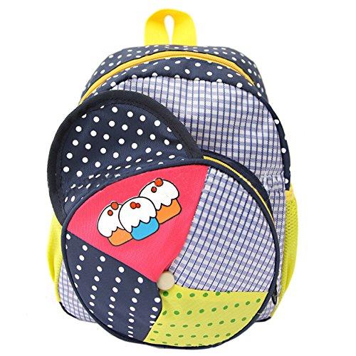 Deer Mum Children'S Backpack Plaid Hat Modelling Design Polka Dots Kids Schoolbag (Purple) front-205848