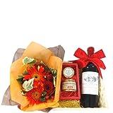 お花とワインのグルメギフト ボルドーの赤ワイン 2011年 ハーフボトル、 鴨のリエットとハチミツのおつまみセット オレンジと赤のお花のアレンジメント