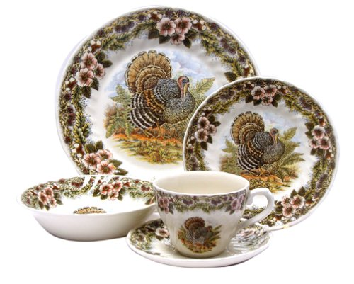 Buy Churchill China Thanksgiving Turkey Multi Colors 20-Piece Dinnerware Set, Service for 4