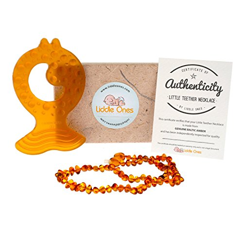 Liddle Ones Little Teether Genuine Baltic Amber Teething Necklace with Natural Rubber Teether - Anti-inflammatory - Soothes Teething Pain - Twist in Screw Clasp