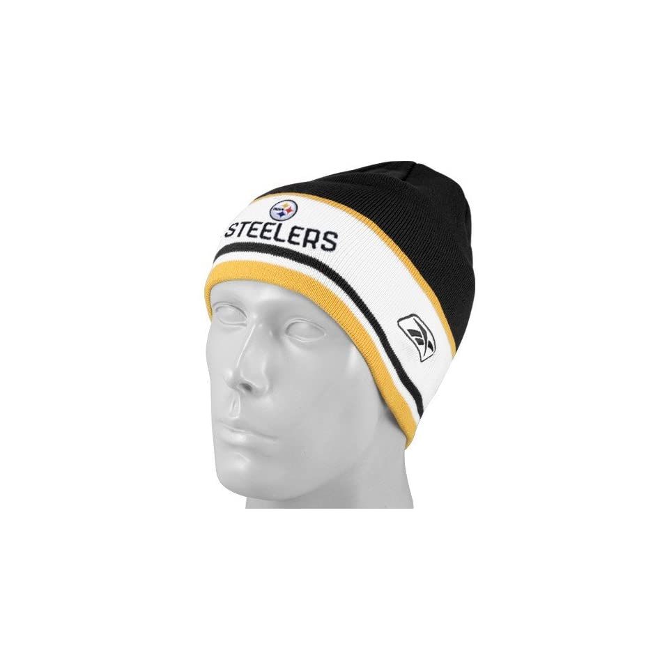 fc8e2c7819ab6 Reebok Pittsburgh Steelers Black Cuffless Coaches Knit Beanie Cap on ...
