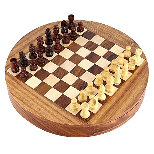 Unique Compact Box Magnetic Round Wooden Chess Board And Pieces Set Gift For Kids Adults 2