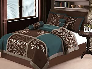 7 PC MODERN Brown Teal Blue Patchwork COMFORTER SET / BED IN A BAG - QUEEN SIZE BEDDING