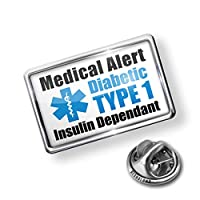 Pin Medical Alert Blue Diabetic Insulin Dependant TYPE 1 - Lapel Badge - NEONBLOND by NEONBLOND