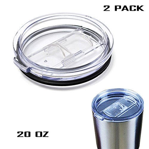 Geekercity® 20 Ounce Spill Proof and Splash Resistant Tumbler Clear Mugs Cup Lid Replacement Fit Vacuum Lid for Yeti Rambler and RTIC Tumblers - Made of Food Grade Material [2 Pack] (20 Oz)