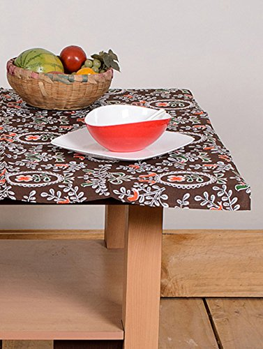 Table Cover Brown Flower 40 By 40 Inches Table Cloth Table Linen Cotton Brown