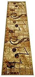 Music Runner Rug 32 Inch X 10 Feet Bellagio #4 Beige (444)