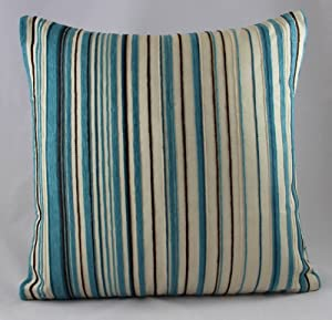 Luxury Chenille Pin Stripe Duck Egg Blue Cushion Covers 22 X22 5