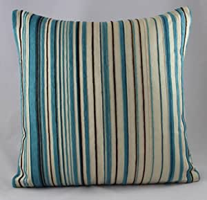 Luxury Chenille Pin Stripe Duck Egg Blue Cushion Covers 18 X18 4