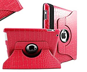 SANOXY® 360 Degrees Rotating Stand Leather Smart Cover Case for Apple iPad 2, Pink Crocodile Color