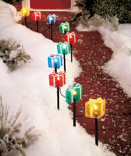 2d set of 10 multi gift present box candle path lights holiday decor driveway pathway christmas lighted yard garden stakes outdoor decoration - Christmas Light Yard Stakes