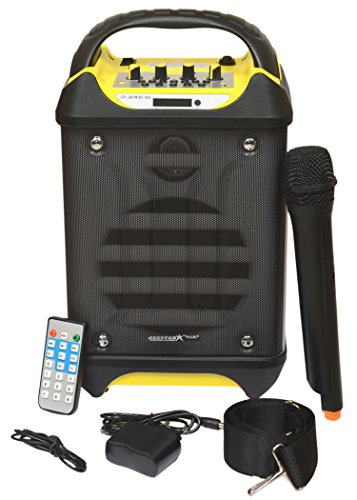 Geestar Plus Portable Active Bluetooth Karaoke Speaker System, Rechargeable Battery, Wireless Mic, USB/SD Readers