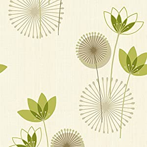 Lime green cream 75461 akina floral k2 holden for Lime green kitchen wallpaper