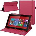 Evecase Slim-Fit Hard Shell Leather Folio Stand Case Cover for Nokia Lumia 2520 - 10.1 inch Windows RT 8.1 Tablet (Hot Pink)