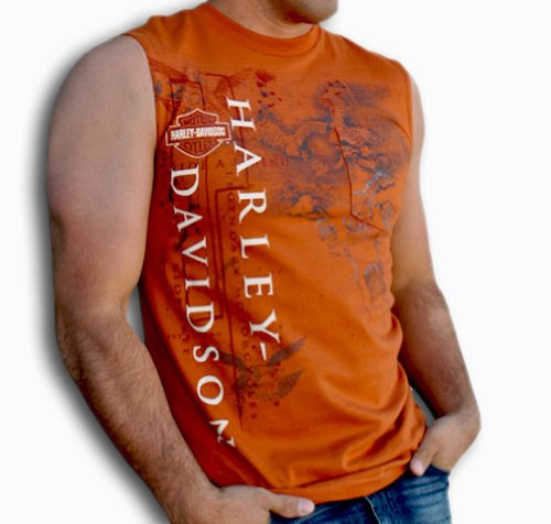 Harley-Davidson Mens Moto HD Pocket Texas Orange Sleeveless Muscle T-Shirt (Medium)
