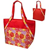 Super Sachi Hot/Cold 50-Can Insulated Cooler Picnic Lunch Bag Floral Red