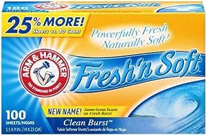 Arm & Hammer Fresh 'N Soft Fabric Softener Sheets, Clean Burst, 100 sheets