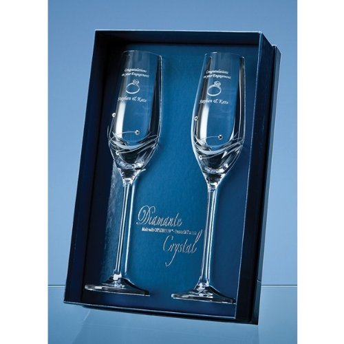 Two Personalised Engraved Champagne Flutes with three Swarovski crystals complete with Gift Box. Treat your Loved One today!