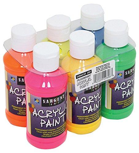 Sargent Art Fluorescent Acrylic Paint Set, 4-Ounce, 6-Pack