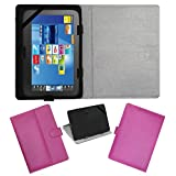"""ACM LEATHER FLIP FLAP TABLET HOLDER CARRY CASE STAND COVER FOR FUJEZONE SMART 7"""" TAB PINK"""