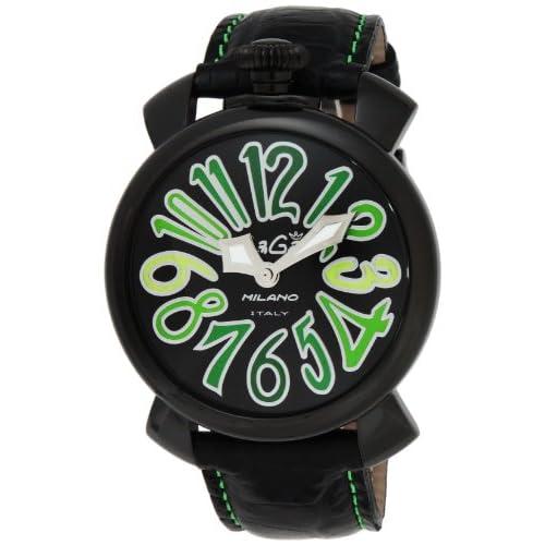 [ガガミラノ]GaGa MILANO 腕時計 マニュアーレ40mm ブラック文字盤 ステンレス/ステンレス(BKPVD)ケース カーフ革ベルト 5022.3-BLK  【並行輸入品】
