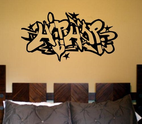 Wall HIP HOP Mural Art Decal STICKER Break Dance Gangsta Poster in Black Vinyl