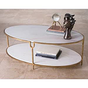 Iron and stone oval coffee table kitchen for Coffee tables amazon