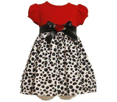 Bonnie Baby Baby-Girls Infant Eyelash Dot Dress, Red, 12 Months front-974634