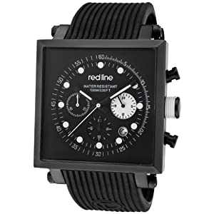 red line Men's RL-50036-BB-01-WA Compressor 2 Chronograph Black Dial Black Silicone Watch