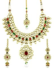 Traditional Bridal Kundan Necklace Set With Ruby & Emerald Stones