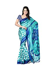 Lavs Green & Blue Dotted Printed Faux Georgette Saree